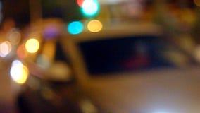 Blurred Defocused Lights of Traffic on a City Road stock video footage