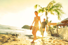 Blurred defocused silhouette of travelers people before sunset Royalty Free Stock Photos