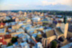 Blurred and defocused top view from Lviv City Hall. Stock Photo
