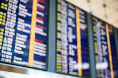 Blurred display flight board backgrounds at airport. stock image