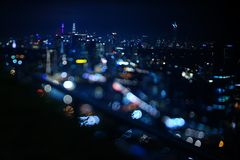 Blurred dramatic night view of city with abstract of LED, neon lights and beautiful bokeh. Blurred dramatic night view of city with abstract of LED, neon lights Royalty Free Stock Photos
