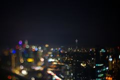 Blurred dramatic night view of city with abstract of LED, neon lights and beautiful bokeh. Blurred dramatic night view of city with abstract of LED, neon lights Royalty Free Stock Image