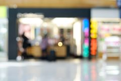 Blurred duty free shop at Vietnam international airport background. Blurred duty free shop at Malaysia international airport background for ad or text Stock Photos