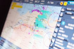Blurred ECDIS monitor in operation. Royalty Free Stock Image