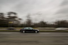 A German car is moving at a fast pace in the city. panning effect. Editorial use only. Burgas/Bulgaria/02.21.2018. Blurred effect of a car at high speed Royalty Free Stock Image