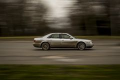 A German car is moving at a fast pace in the city. panning effect. Editorial use only. Burgas/Bulgaria/02.21.2018. Blurred effect of a car at high speed Royalty Free Stock Photo