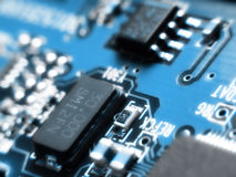 Blurred electronics. In blue stock photography