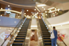 Blurred empty escalator in shopping mall Royalty Free Stock Image