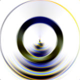 Blurred energy circle, abstract background and design. Blurred energy circle in blue, yellow and green hues and colors on white background. Abstract texture and Vector Illustration