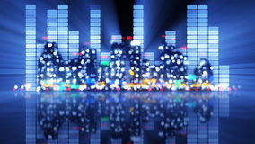 Blurred equalizer and night city Stock Photography