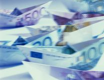 Blurred Euro banknotes shaped like boats Royalty Free Stock Photos