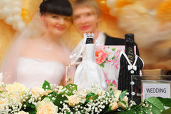 Blurred faces of bride and groom Royalty Free Stock Photos