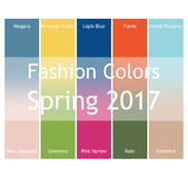 Blurred fashion infographic with trendy colors of the 2017 Spring. Niagara,Primrose Yellow,Lapis Blue,Flame,Island Stock Images