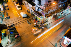 Blurred fast moving cars and taxi cabs on the asia Stock Photo