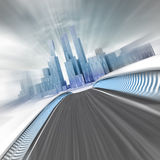 Blurred fast street leading to modern skyscraper city render Stock Image