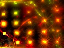 Bright festive blur - abstract digitally generated image. Blurred festive fractal background with glowing spots like stars or flovers. Abstract computer Stock Photography