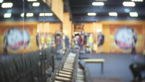 Blurred. fitness gym people workout in sport club center. 4k.  stock footage