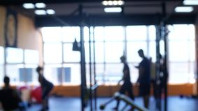 Blurred. fitness gym people workout in sport club center. 4k.  stock video