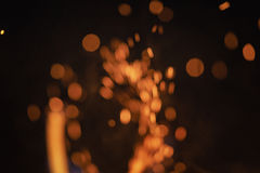 Blurred flames in fireplace with beautiful bokeh Stock Photography
