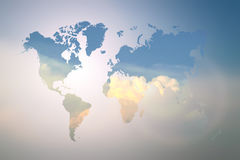 Blurred  Flare Blue sky with world map Stock Image