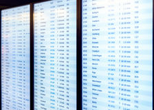 Blurred Flights information board in airport terminal perfect for travel background. And tourism Stock Photos