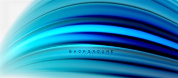 Blurred fluid colors background, abstract waves lines, vector illustration. Blurred fluid blue colors background, abstract waves lines, mixing colours with light royalty free illustration