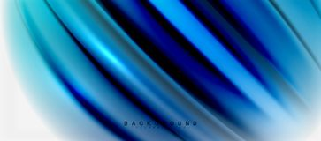 Blurred fluid colors background, abstract waves lines, vector illustration. Blurred fluid blue colors background, abstract waves lines, mixing colours with light Stock Image