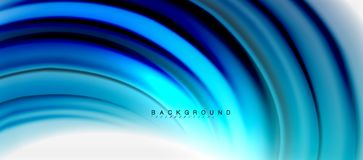 Blurred fluid colors background, abstract waves lines, vector illustration. Blurred fluid blue colors background, abstract waves lines, mixing colours with light Royalty Free Stock Photo