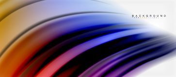 Blurred fluid colors background, abstract waves lines, vector illustration. Blurred fluid colors background, abstract waves lines, mixing colours with light Royalty Free Stock Images
