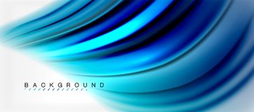 Blurred fluid colors background, abstract waves lines, vector illustration. Blurred fluid blue colors background, abstract waves lines, mixing colours with light Stock Illustration