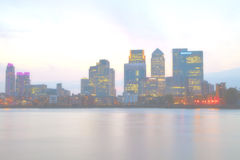 Blurred foggy Cityscape of London Canary Wharf business district Royalty Free Stock Images