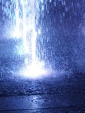 Blurred motion of the fountain blue color light for background abstract effect