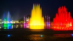 Blurred fountain show with lighting at Dadaepo in Busan, Stock Image