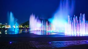 Blurred fountain show with lighting at Dadaepo in Busan, Stock Photo