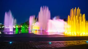 Blurred fountain show with lighting at Dadaepo in Busan,. South Korea Stock Photo