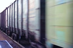 Blurred freight railway car stock image