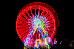 Blurred giant wheel, ferris at night Royalty Free Stock Images