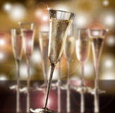 Blurred glasses of champagne stock photo