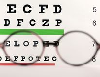 Blurred glasses with corrective lenses. On table against eye chart royalty free stock photo