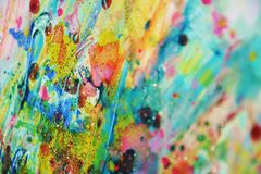 Blurred gold blue violet pink spots, pastel vivid watercolor paint, colorful hues Royalty Free Stock Images