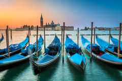 Blurred gondolas in Venice at dawn Stock Photography