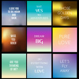 Blurred, gradient backgrounds with inspiring quotes and text about love and life Stock Photos