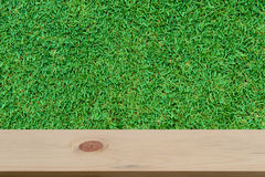 Blurred grass background with empty wooden Stock Images