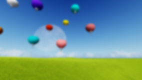 Blurred Grass landscape Background Moon balloons and spring green meadow. Nature composition. Vector image Stock Photos