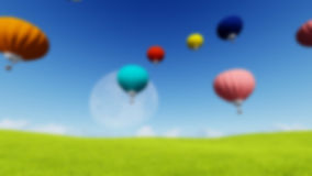 Blurred Grass landscape Background Moon balloons and spring green meadow. Nature composition. Vector image Stock Photography