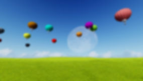 Blurred Grass landscape Background Moon balloons and spring green meadow. Nature composition. Vector image Stock Images