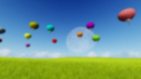 Blurred Grass landscape Background Moon balloons and spring green meadow. Nature composition. Vector image Stock Image