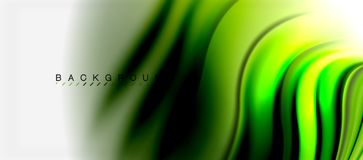 Blurred fluid colors background, abstract waves lines, vector illustration. Blurred green fluid colors background, abstract waves lines, mixing colours with Stock Photos