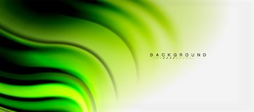Blurred fluid colors background, abstract waves lines, vector illustration. Blurred green fluid colors background, abstract waves lines, mixing colours with Royalty Free Stock Photography