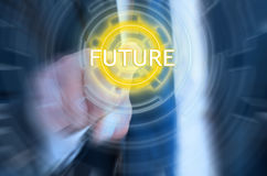 Blurred hand of businessman touching the future icon. On modern screen Royalty Free Stock Images